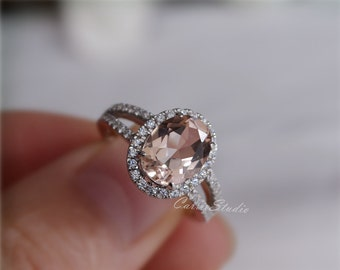 7*9mm Oval Morganite Ring Morganite Engagement Ring/ Wedding Ring Sterling Silver Ring Anniversary Ring Promise Ring