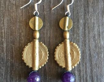 Brass charms earrings, Nepali brass charms earrings, Boho brass beads earrings, earthy look earrings, boho brass earrings