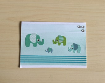 Elephant baby card, baby boy, newborn card, baby shower card, blue and green