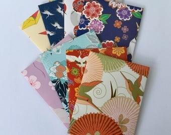 Bird envelopes, bird stationery, snail mail  japanese style, handmade small envelopes, set of 8, patterned, spring