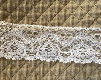"""3 Yards Antique-Vintage 1 1/2"""" Fancy Sheer White LACE Bisque JUMEAU French DOLL ~Wedding Dress Trim~From 1942"""