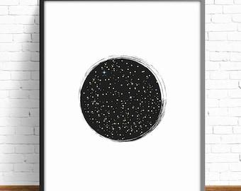 stars print,outer space print,printable illustration,sky print,living room art,nursery decor,wall art print, wall art decor,4 SIZES INCLUDED