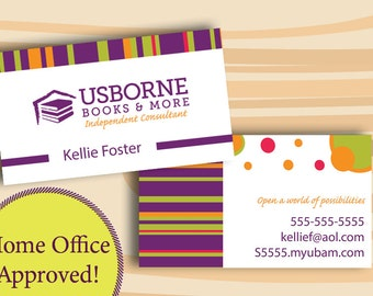 Usborne Business Cards, DIGITAL FILE ONLY Two Sided Business Card Home Office Approved
