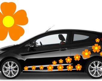 20, orange flower car decals,stickers in three sizes