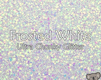 Chunky Frosted White Glitter Fabric A4 Or A5 Sheets Faux Leather For Bows & Crafts