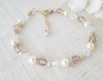 Blush pink wedding, Simple pink crystal bracelet, Swarovski crystal bridal bracelet, Crystal and pearl bracelet, Bridesmaid bracelet