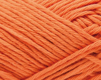 Cotton yarn smokey orange colour creative cotton aran crochet Rico Design 50 g 85m (92 yards) needle size 4-5 EU (US 6-8) colour code 72