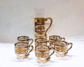 Vintage Barware Martini Pitcher Cocktail Glasses Set Hollywood Regency