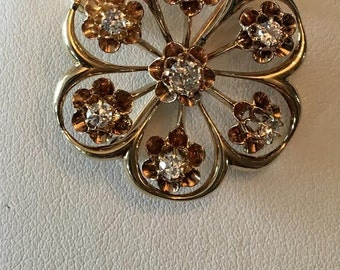 Antique Art Nouveau 14k yg pin pendant with an Old Mine Cut & 6 Old European Cut Diamonds in Buttercups, .40 tw GHI-SI2,I1