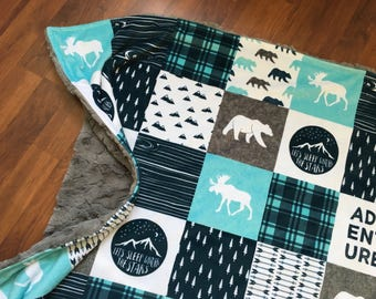 Patchwork Blanket featuring minky / woodland, rustic moose, deer, bear / plaid / baby and toddler bedding, crib blanket, nursery decor