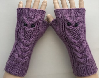 EXPRESS SHIPPING!Lilac Owl Hand-Knitted Fingerless Gloves/Winter Accessories/ReyyanCrochet