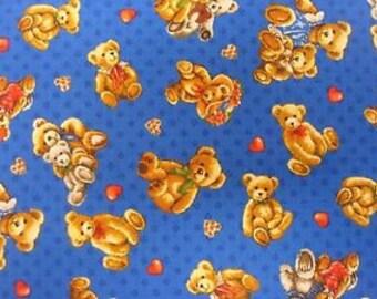 Bears on Blue Fabric / Bear Hugs Tossed Fabric / Teddy Bear Fabric / Fabri-Quilt 112-29422  / Fat Quarters and Yardage
