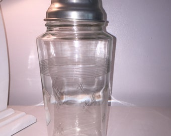 Large Vintage Mid Century Modern Etched Glass Cocktail Shaker