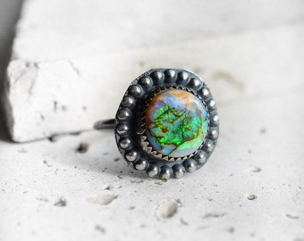 Monarch opal ring, sterling silver opal ring, monarch opal jewelry, monarch opal stone, round opal ring, opal jewelry