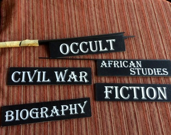Library Sign,Occult Sign,African Studies,Occult,Biography,Civil War,Fiction Sign,Civil War Studies,Library Ephemera,Occult Art,Civil War Art