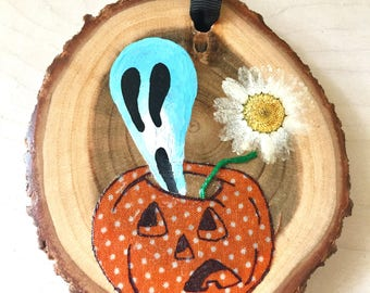 Pumpkin's Ghost Wood Disc Wall Hanging