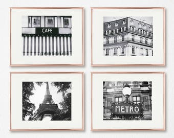 Paris Photography Set, Prints Gallery Wall, Set of 4, Black and White, Large Wall Art, Travel Prints, Paris Decor