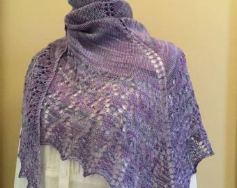 Hand knit shawl, shawlette, scarf, violet, light purple, merino wool