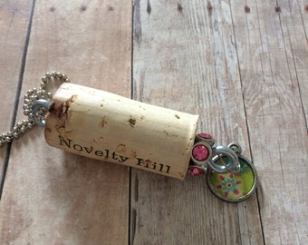 Charm Necklace, Upcycled Wine Cork Necklace, Recycled Wine Cork Necklace, Natural Wine Cork Necklace, Charm Necklace