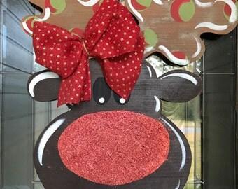 Rudolph Reindeer Christmas Door Hanger