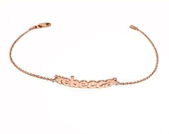 Nom du bloc Bracelet personnalisé en argent Vermeil 7