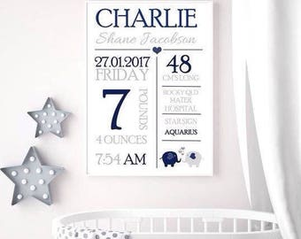 Personalised Baby Birth Print,  Birth stats poster, Nursery Wall Art, baby gift, newborn gift, Baby Keepsake, Custom Baby Birth Print