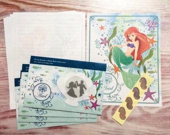 Little Mermaid Ariel Stationery Set with Window Envelopes