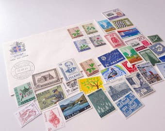 25 stamps from Iceland + 1 First-day Cover