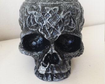 Silver Jawless SKULL Gothic Celtic Tea Light Candle Holder Ornament Handmade