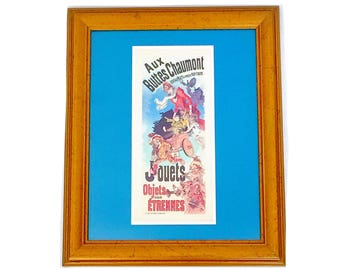 "SALE! Framed Vintage ""Jouets"" French Ad Art Poster with Blue Matte & Gold Frame"