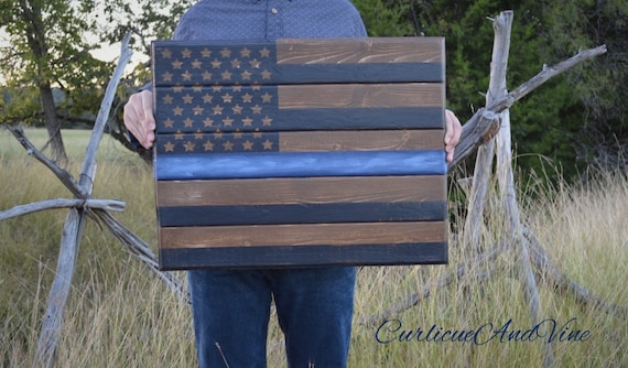 United States Flag-Thin Blue Line-Law Enforcement-Pallet Board-Police-Wall Art-Rustic Barnwood-Man Cave-Flags-Officer-Reclaimed Wood-