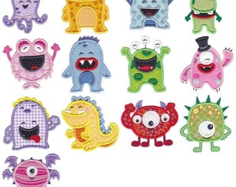 My Monster Applique - 13 Different Applique Machine Embroidery Designs 4x4 5x7 6x10