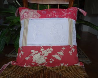 square Cushion cover, patchwork and Monogram, vintage, in shades of Pink: