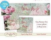 75 % de RÉDUCTION VENTE bannière (photo de couverture) + Boutique icônes - #L005 ensemble. Bannière de Roses numérique Etsy Shop bannière Collage numérique feuille fleurs