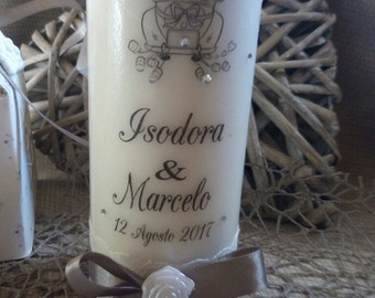 Custom candle 17 x 6 cm, favor wedding wedding grooms, placeholder names