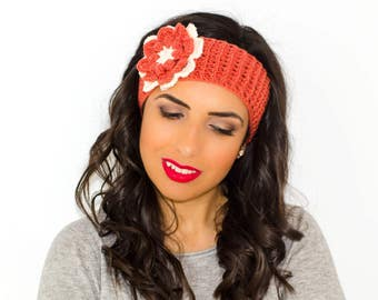 Flower headband, knitted headband, headband with flower, womens knit headband, winter ear warmer, crochet headband, winter head wrap