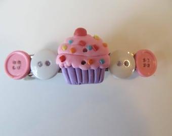Cupcake Button Barrette, Birthday Gift, Gifts for her, Gifts for girls, Gifts for teens, Button Barrettes, Hair Accessories, Hair Clip