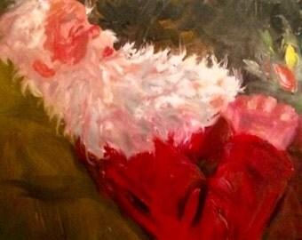 Original Santa Claus oil painting 16 x 20 Christmas