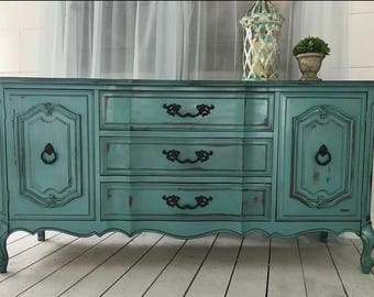 SOLD...Turquoise Distressed Buffet ~ Dresser ~ TV Buffet, Sideboard