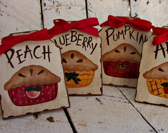 Homemade Pie Labels Set, Dessert Table Signs, Food Labels, Rustic Buffet Table, Apple Pie, Pumpkin Pie, Rustic Wedding Decor
