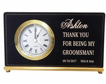Thank you Gifts to my Groomsmen,Groomsmen Custom Desk Clocks,Wedding clocks,Gifts from the Groom/Bride,Personalized Leather Clocks, LCG004