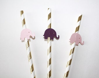 10 Gold, Pink and Purple Elephant Paper Straws. Pink, Purple and Gold Party Decor. Paper Straws. Baby Girl Shower. First Birthday.