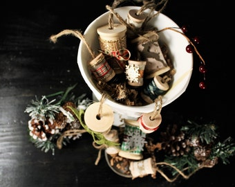 Rustic Spool Christmas Ornaments - Greens and Reds
