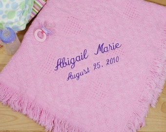 Embroidered Baby Girl Afghan Personalized Soft baby blanket