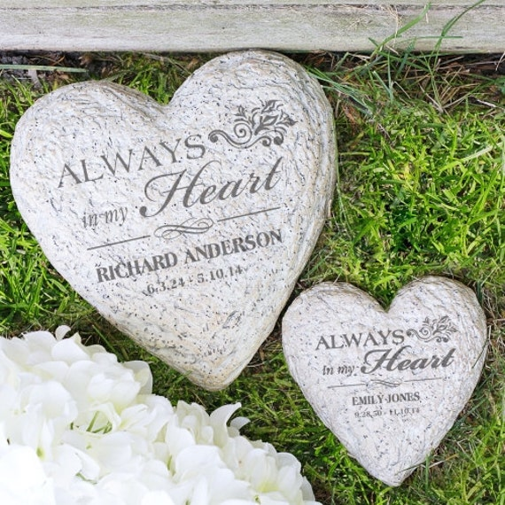Personalized memorial garden stone engraved always in my heart for Personalized garden stone