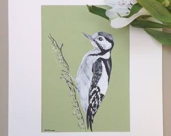Woodpecker, Original Pen and Ink Portrait