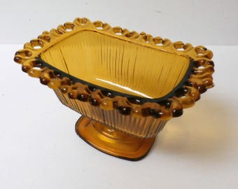 Vintage Indiana Glass Amber Candy Dish Lace & Ribbed Pattern Rectangle Pedestal