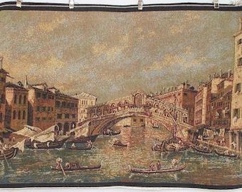 Venetian Tapestry. Rialto Bridge & Gondolas.  Cushion Cover Fabric. Wall Hanging  (4550s)