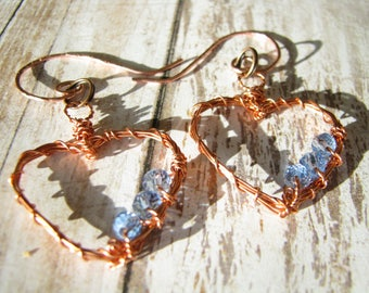 Heart earrings Blue crystal earrings Wire wrapping earrings Valentine day gift for her Copper earrings OOAK earrings Elegant earrings Unique