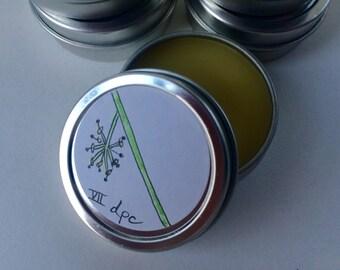 VII anchor balm, beeswax, cocoa butter, jojoba oil, natural, light, green